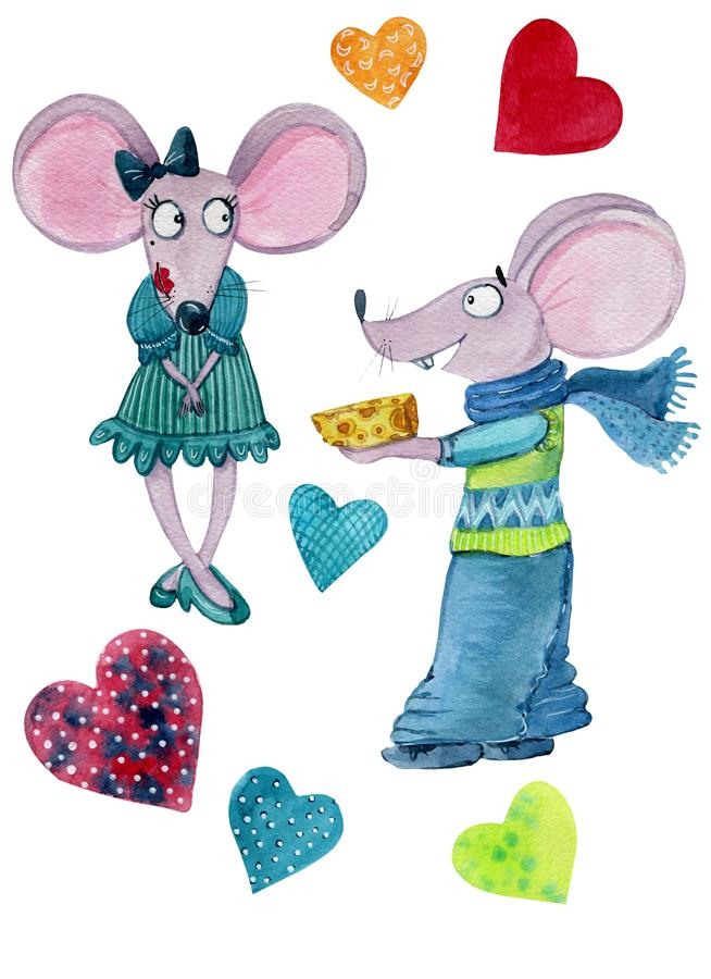 A couple of mice in love stock illustration