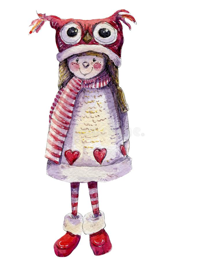 Watercolour illustration of a cute little girl wearing an owl hat jpeg, png stock images