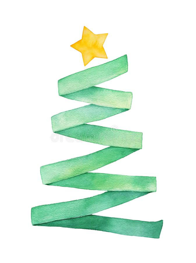 Watercolour illustration of green ribbon folded as cute Christmas tree royalty free stock photo