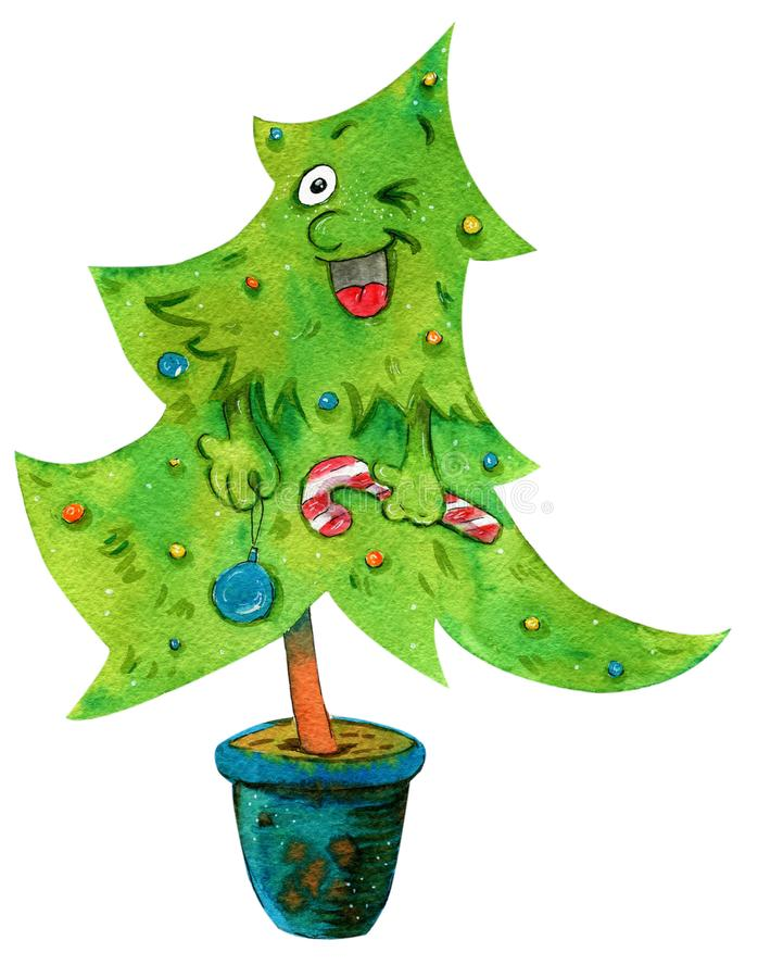 Watercolour illustration of a happy Christmas tree in a pot stock illustration