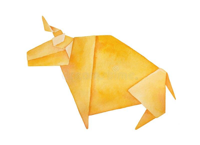 Watercolour illustration of large Origami Bull. vector illustration