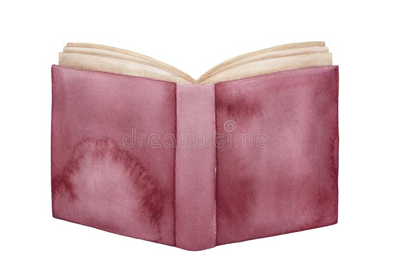 Watercolour illustration of opened book with red maroon distressed cover. stock illustration