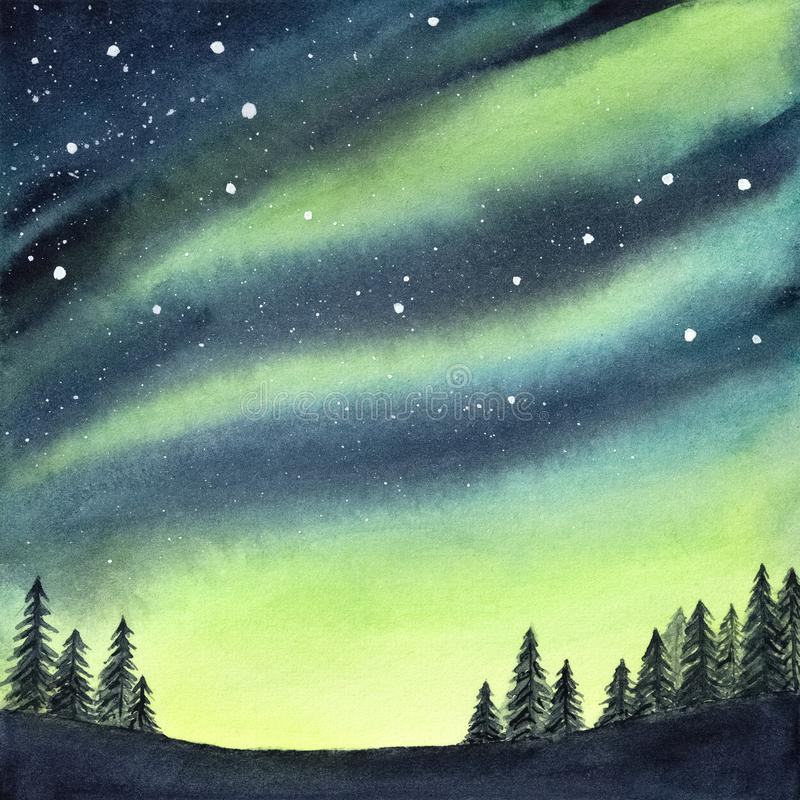 Watercolour illustration of peaceful serene spruce forest under colorful northern lights and night starry sky. Handdrawn water color gradient drawing, backdrop vector illustration