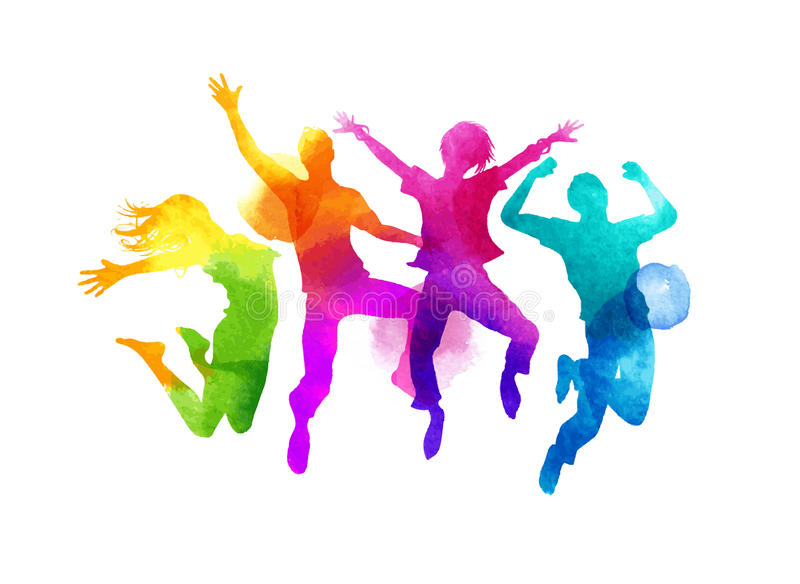 Watercolour Jumping Group of Friends Vector stock illustration