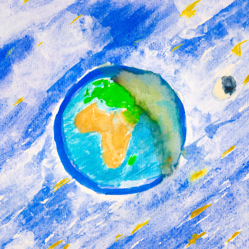 Watercolour Kosmisch Landschap stock afbeelding