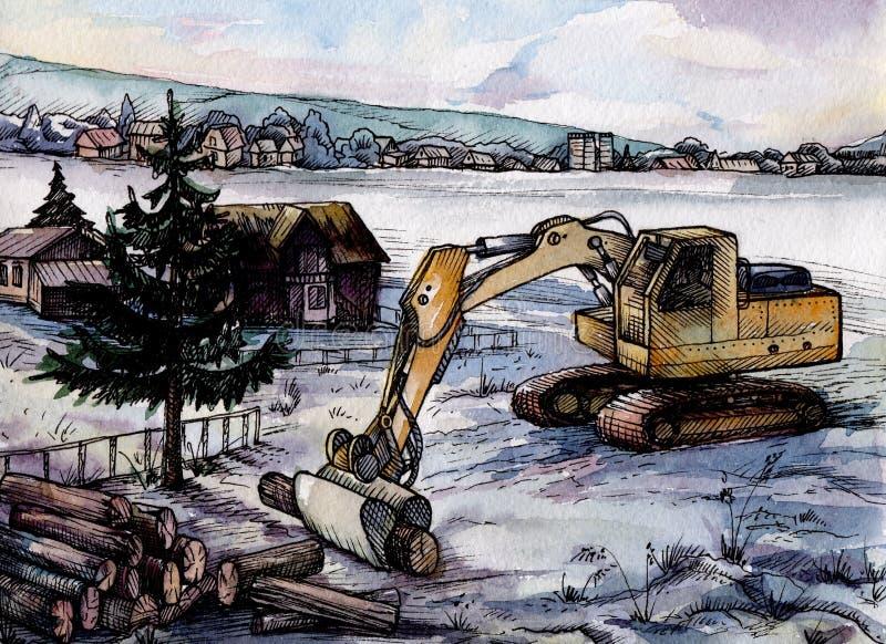 Watercolour krajobraz wieś z ekskawatorem na przedpolu royalty ilustracja