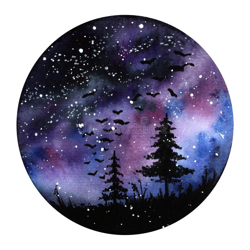 Watercolour maluje Północnych świateł przestrzeni krajobraz Fiołka, czarnych i błękita kolory, Nowożytna nowa round ilustracja z ilustracja wektor