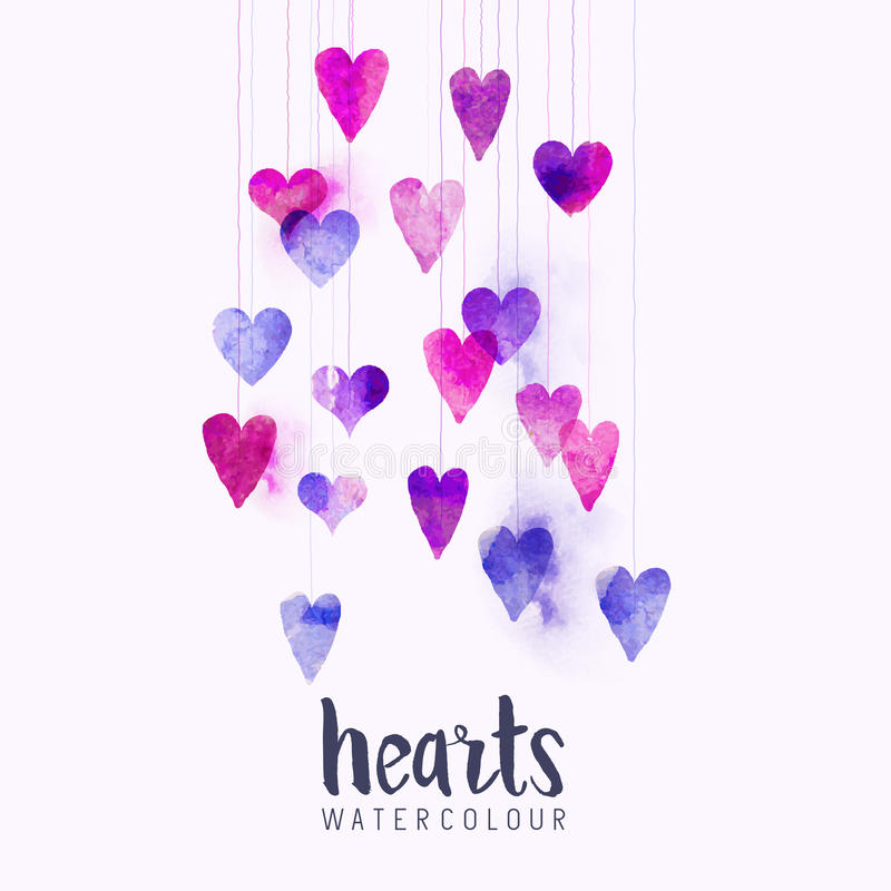 Watercolour miłości serca na sznurkach ilustracja wektor
