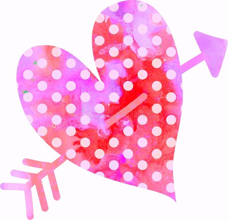 Watercolour miłości serce ilustracji