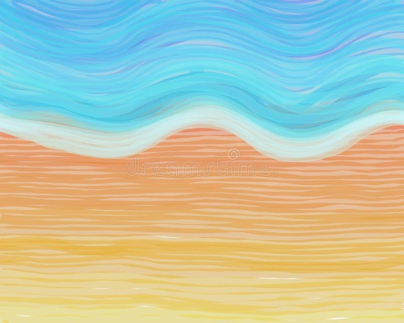 watercolour na plaży royalty ilustracja