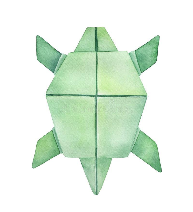 Watercolour nakreślenie Origami żółw ilustracja wektor