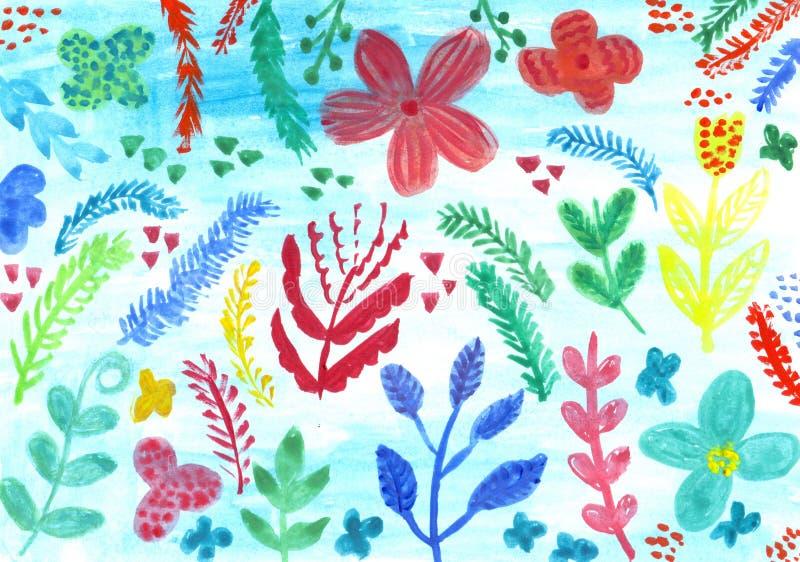 Watercolour natury fantazi kwiecista abstrakcjonistyczna ilustracja dla de ilustracja wektor