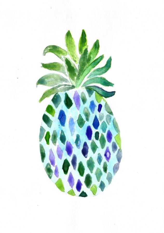 Watercolour obrazu ananasa abstrakcjonistyczny wizerunek ilustracja wektor