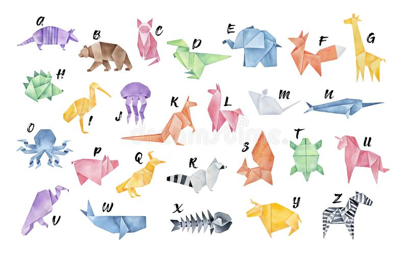 Watercolour Origami Alphabet. Letters from A to Z: armadillo, bear, cat, dinosaur, elephant and other. stock illustration