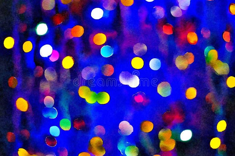 Watercolour painting of Christmas lights bokeh dark blue background. stock illustration