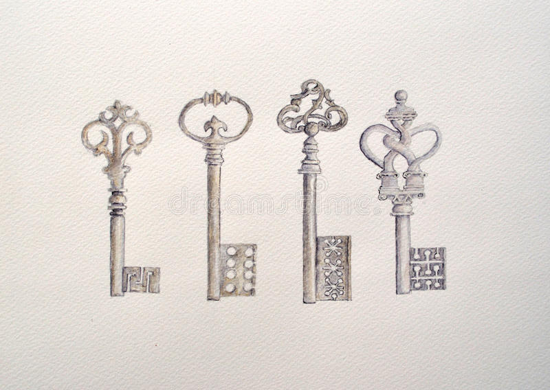Watercolour painting of four antique keys stock image