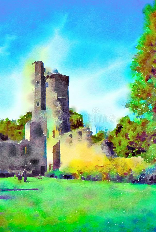 Watercolour painting of Irish castle tower ruin. Vertical. vector illustration