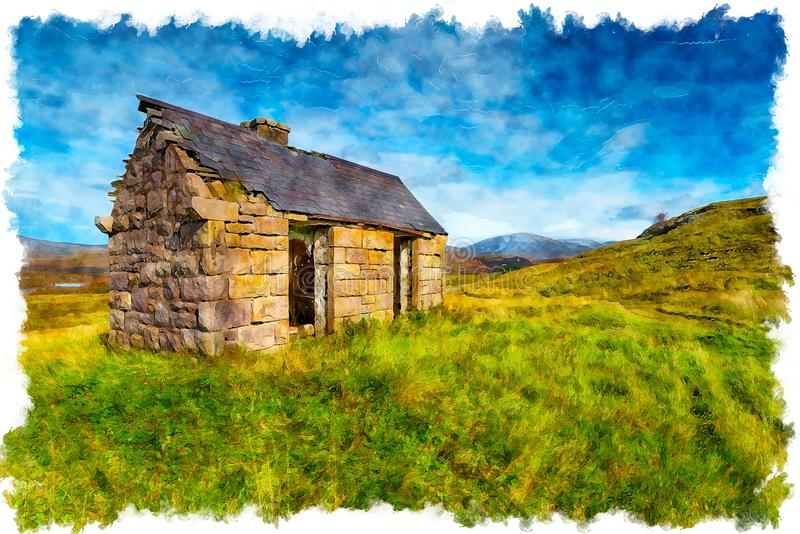 An old bothy at Elphin in Scotland Illustration stock illustration