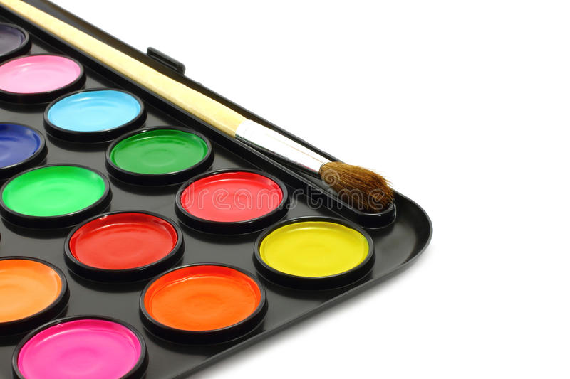 Watercolour paints with brush royalty free stock photos