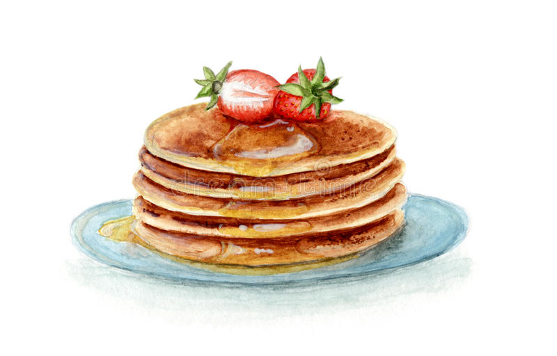 Watercolour Pancakes with Strawberries. Watercolour drawing of pancakes with strawberries and maple syrup vector illustration