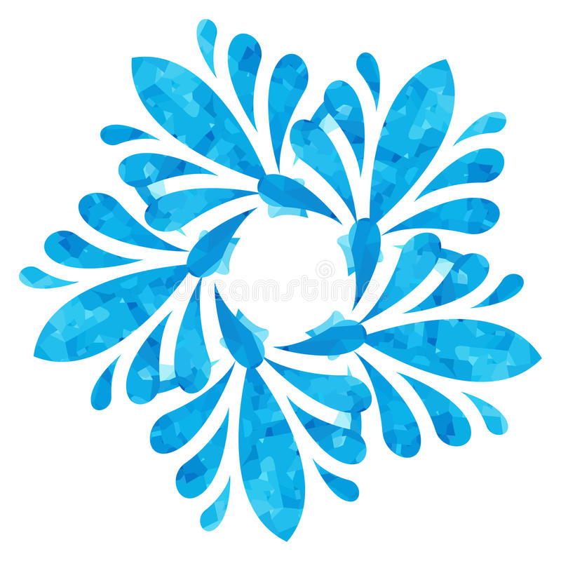 Watercolour pattern - Blue abstract flower. Blue abstract flower of five elements with polygonal pattern on white background in the Watercolour pattern royalty free illustration