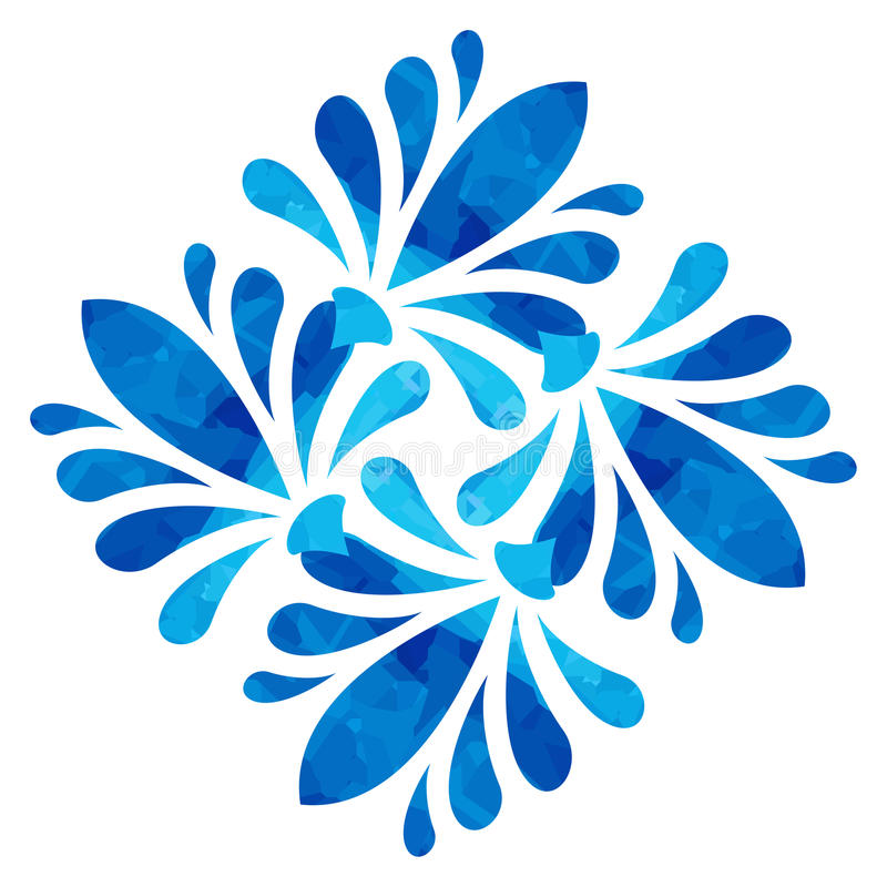 Watercolour pattern - Blue abstract flower. Blue abstract flower of four elements with polygonal pattern on white background in the Watercolour pattern vector illustration