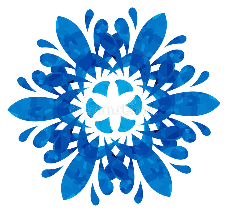Watercolour pattern - Blue abstract flower. Blue abstract flower of six elements with polygonal pattern on white background in the Watercolour pattern collection royalty free illustration