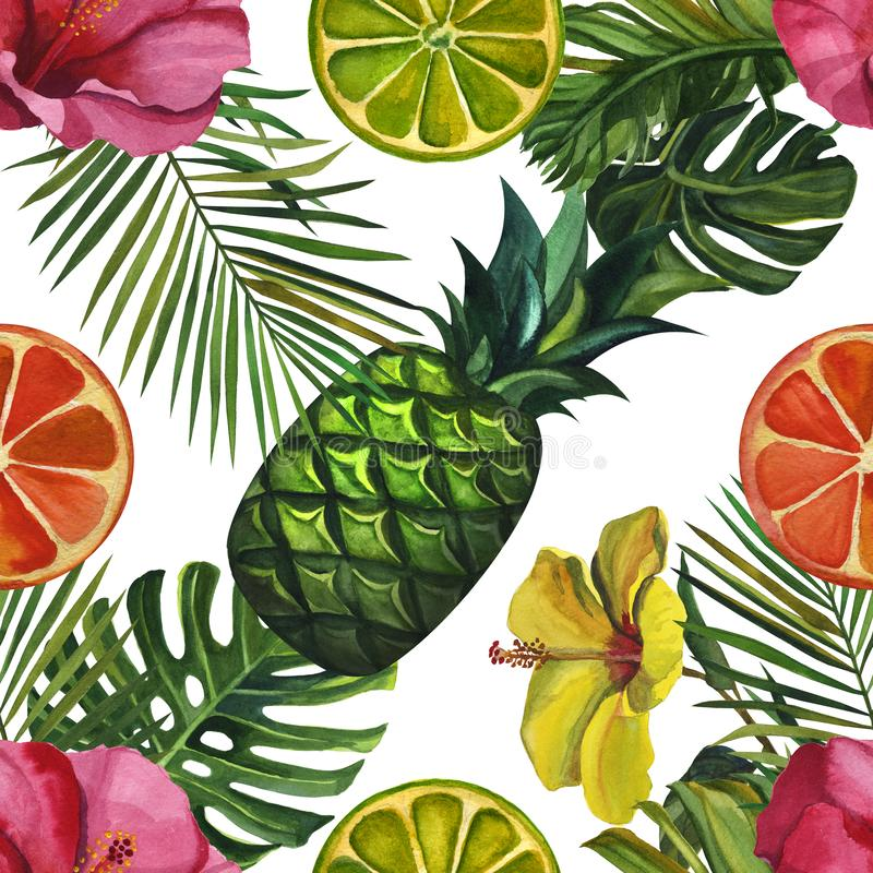 Watercolour hand drawing pattern with tropical palm leaves, bananas, pineapples, flowers. Seamless pattern vector illustration