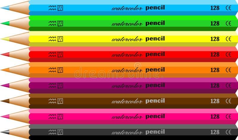 Watercolour pencils stock illustration