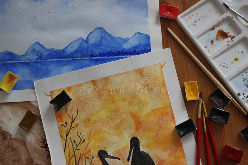 Watercolour picture royalty free stock photography