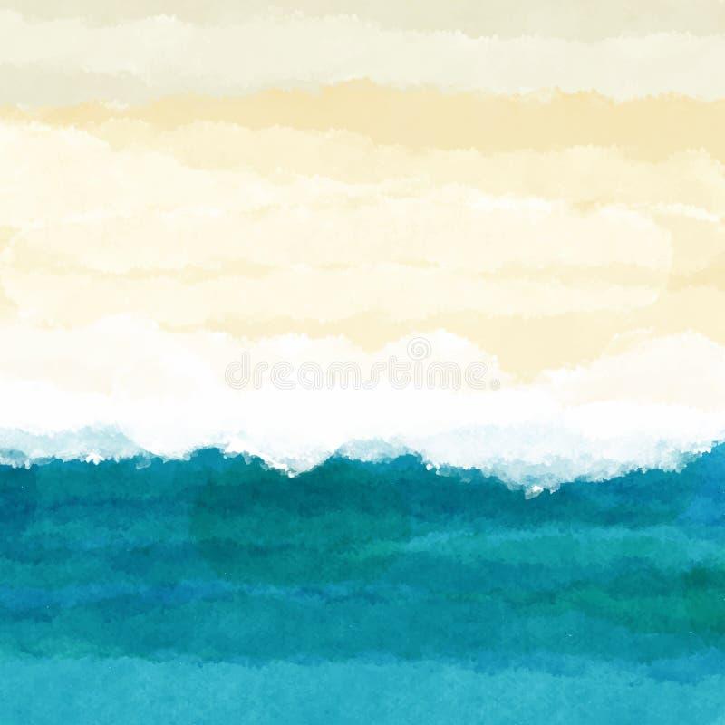 Watercolour plażowa scena royalty ilustracja