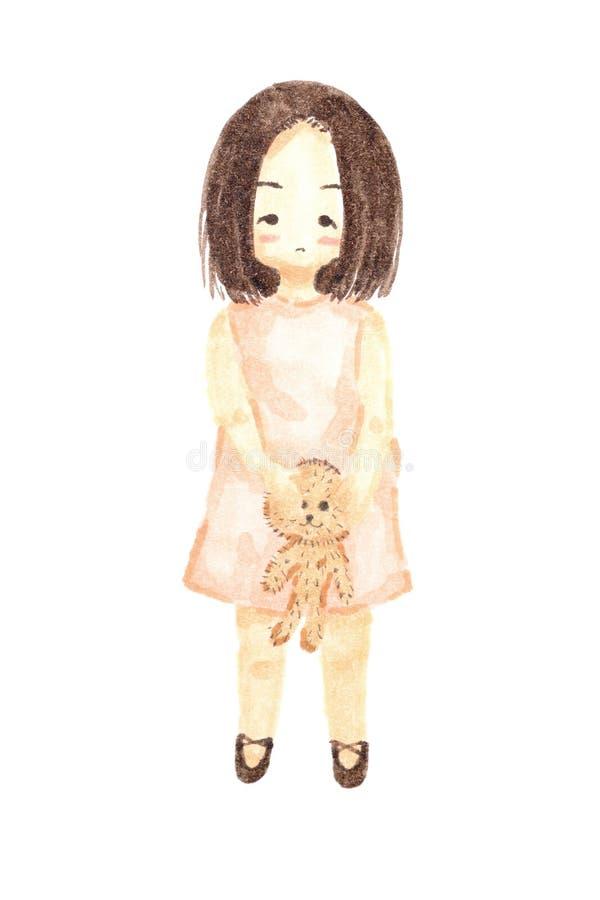 Watercolour que pinta a boneca só do urso da terra arrendada da menina ilustração royalty free
