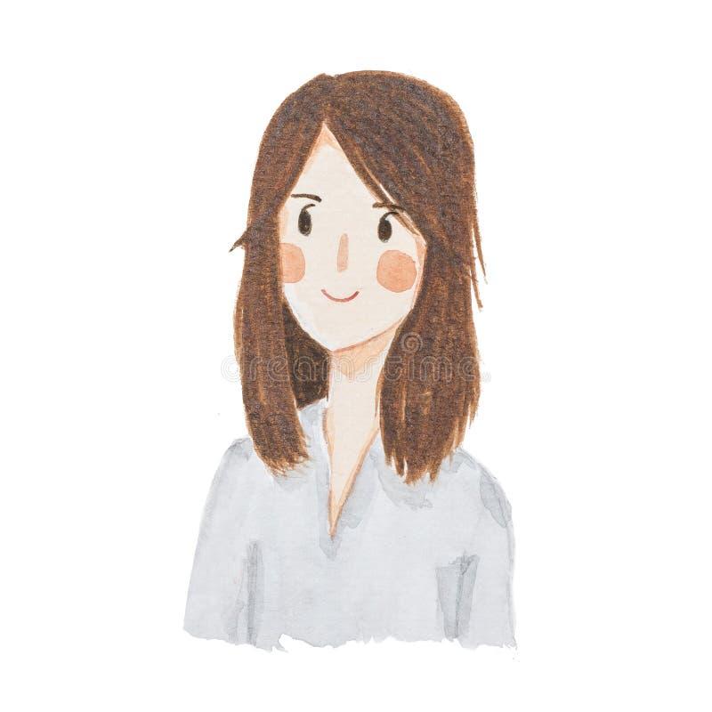 Watercolour que pinta o retrato feliz das mulheres bonito ilustração royalty free