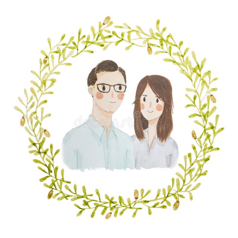Watercolour que pinta o retrato feliz dos pares do amor ilustração stock