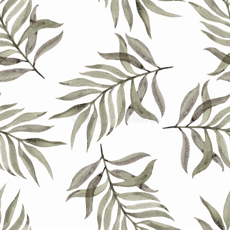 Watercolour ręka malująca Bezszwowy wzór z liśćmi na białym tle Piękny projekt dla tapet, tkaniny, tkaniny royalty ilustracja