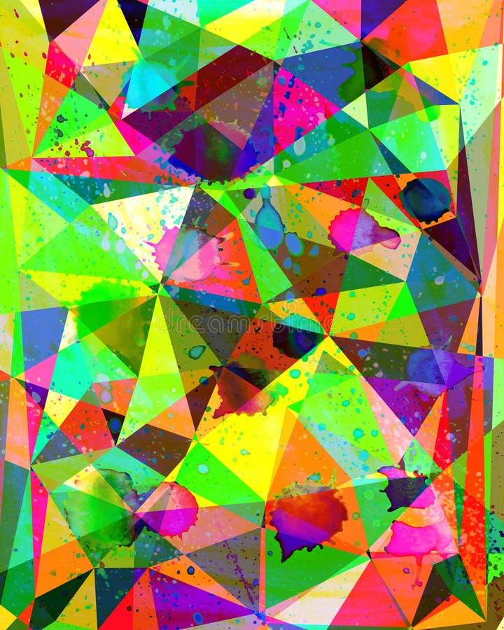 Watercolour rękodzieła geometryczny kolorowy tło Śliczny tekst ilustracja wektor