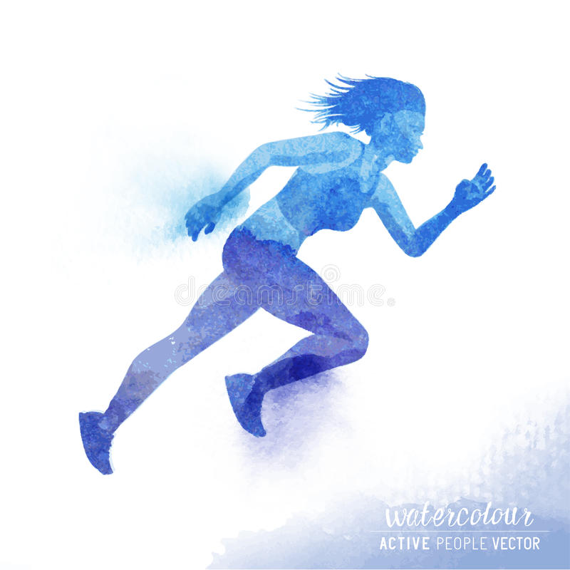 Watercolour Running Woman Vector. A young active woman running - Watercolour vector illustration royalty free illustration