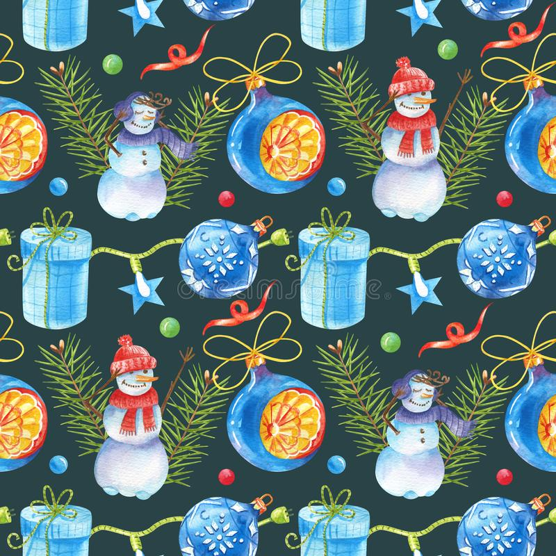 Watercolour seamless pattern with vintage Christmas toy, snowmen, Christmas ball, pine branches, ribbon, lights and gift box vector illustration