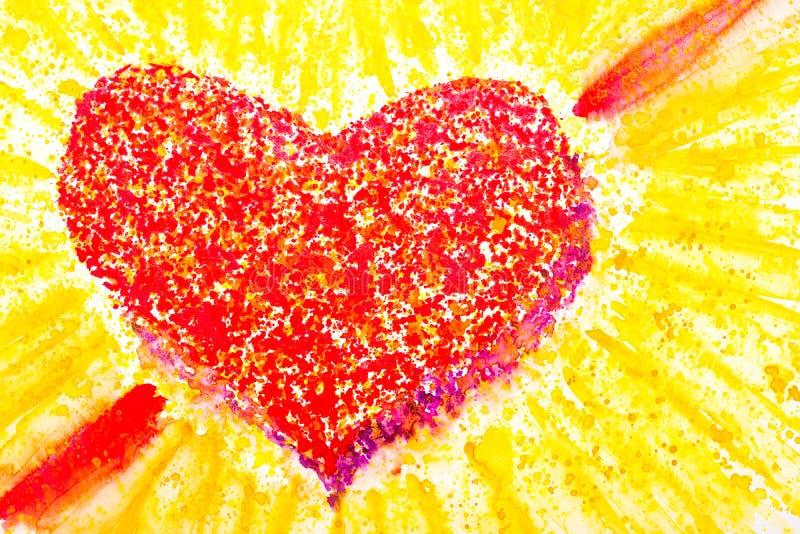Watercolour serce w czerwieni jako symbol dla miłości royalty ilustracja