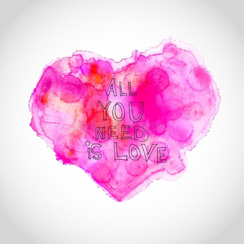 Watercolour serce z listami miłosnymi ilustracja wektor