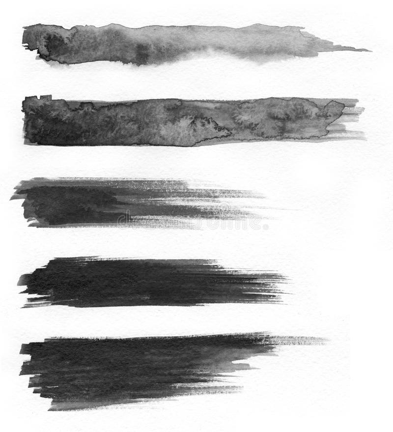 Watercolour. Set of abstract black watercolor stroke backgrounds. stock image