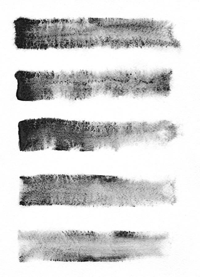 watercolour Set abstrakcjonistyczni czarni akwareli uderzenia tła royalty ilustracja
