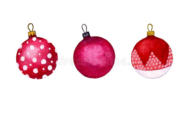Watercolour set of red Christmas balls on a white background. Holiday ornamental decorations for the happy new year. royalty free illustration