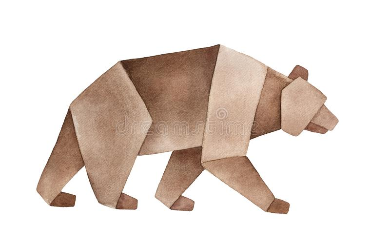 Watercolour sketch of Brown Origami Bear. royalty free stock photography