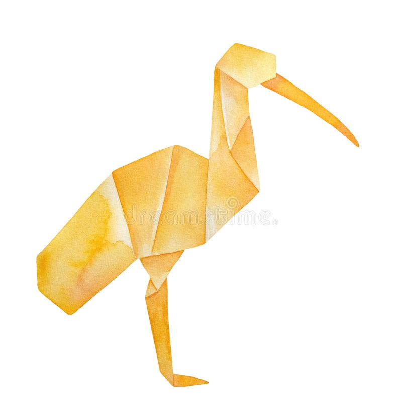 Watercolour sketch of standing Origami Ibis bird. royalty free stock images