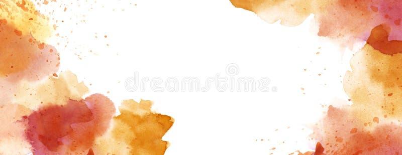Watercolour with splash spot background white copy space. Warm tone watercolour splash spot background white copy space stock illustration