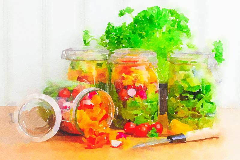 Watercolour painting of prepared salad in storage jars. stock illustration