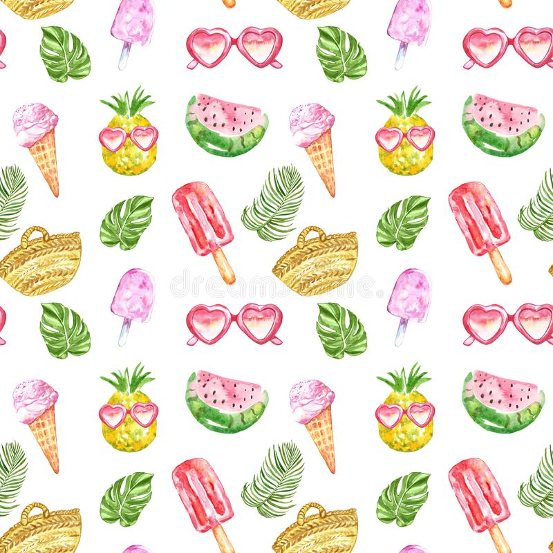 Watercolour summer pattern with fresh fruits, ice cream, sunglasses, posicles and tropical leaves on white background. Watercolor summer seamless pattern. hand royalty free stock photo