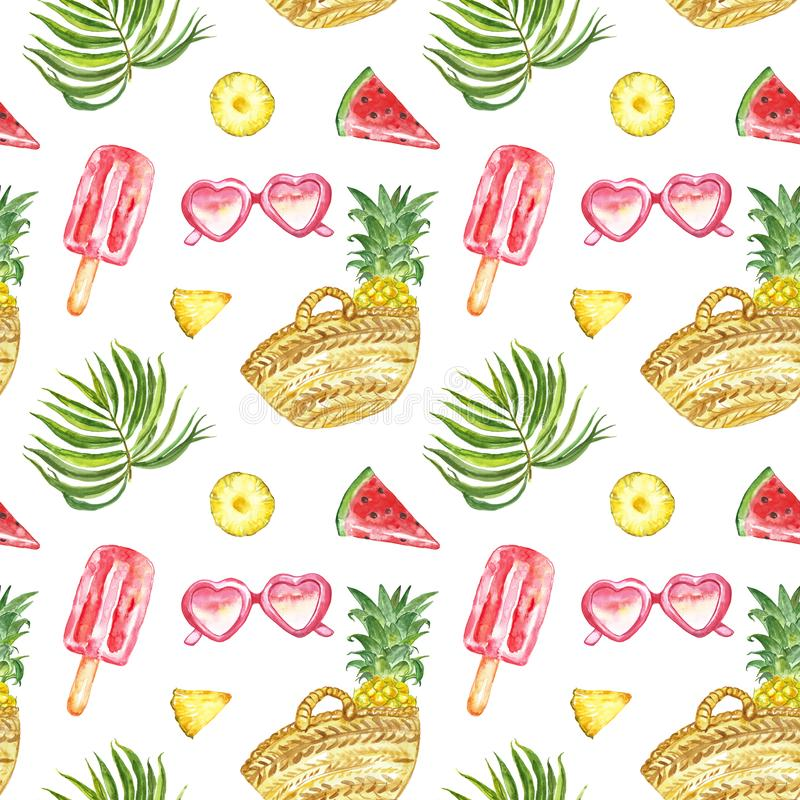 Watercolour summer pattern with fresh fruits, sunglasses, ice posicles and tropical palm leaves on white background vector illustration