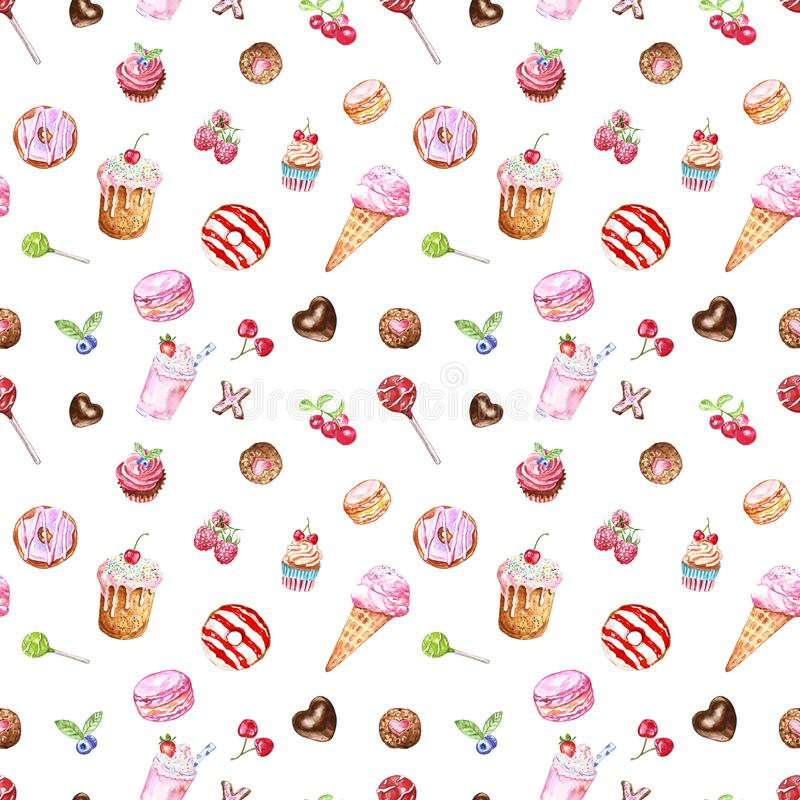 Watercolour tasty desserts seamless pattern in pastel colors. hand painted sweet treats on white background royalty free illustration